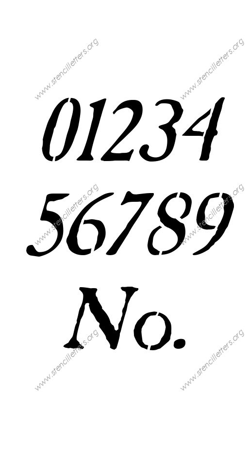 Antique Italic Number Stencil