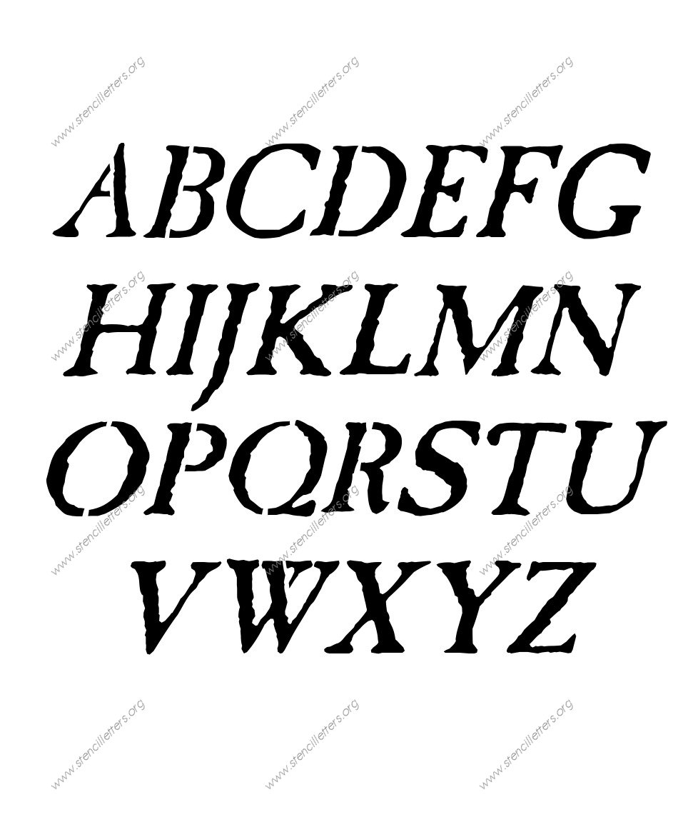 Antique Italic Stencil Letter Set