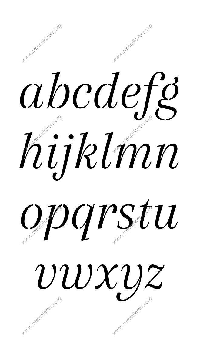 Classic Italic A to Z lowercase letter stencils