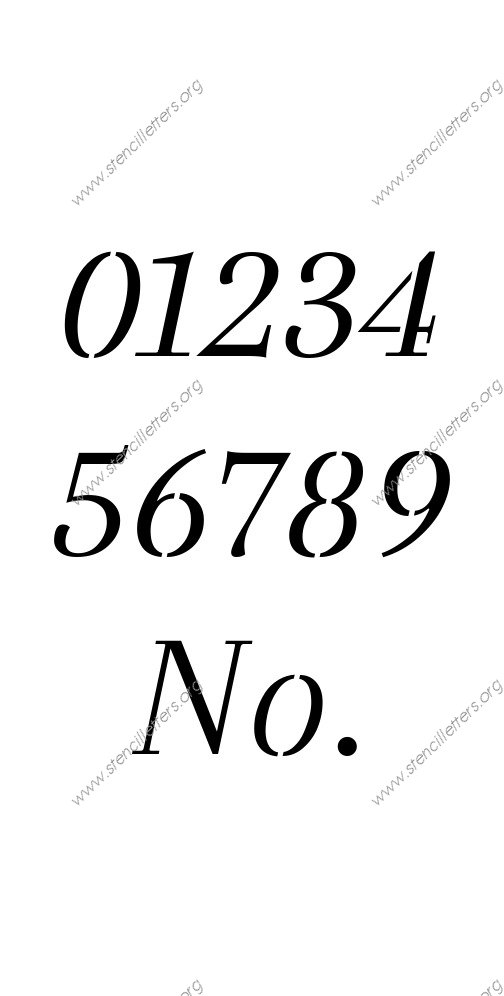 Classic Italic 0 to 9 number stencils