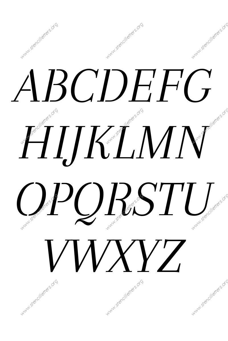 Classic Italic A to Z uppercase letter stencils