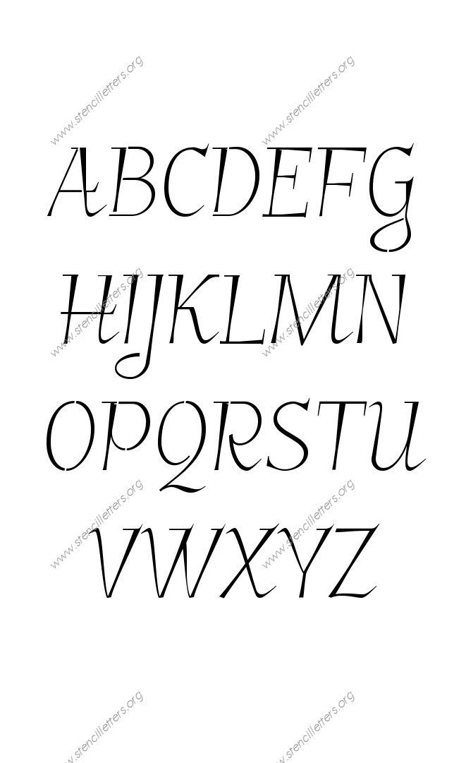 Fancy Italic Uppercase Lowercase Letter Stencils A Z 1 4 To 12