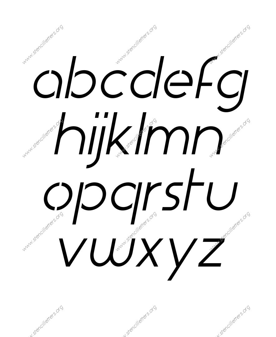 Basic Italic A to Z lowercase letter stencils