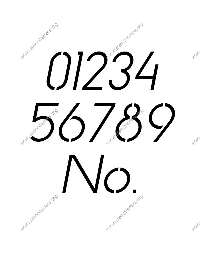 Basic Italic 0 to 9 number stencils