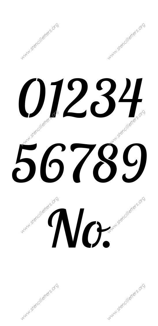 Connected Italic Number Stencil