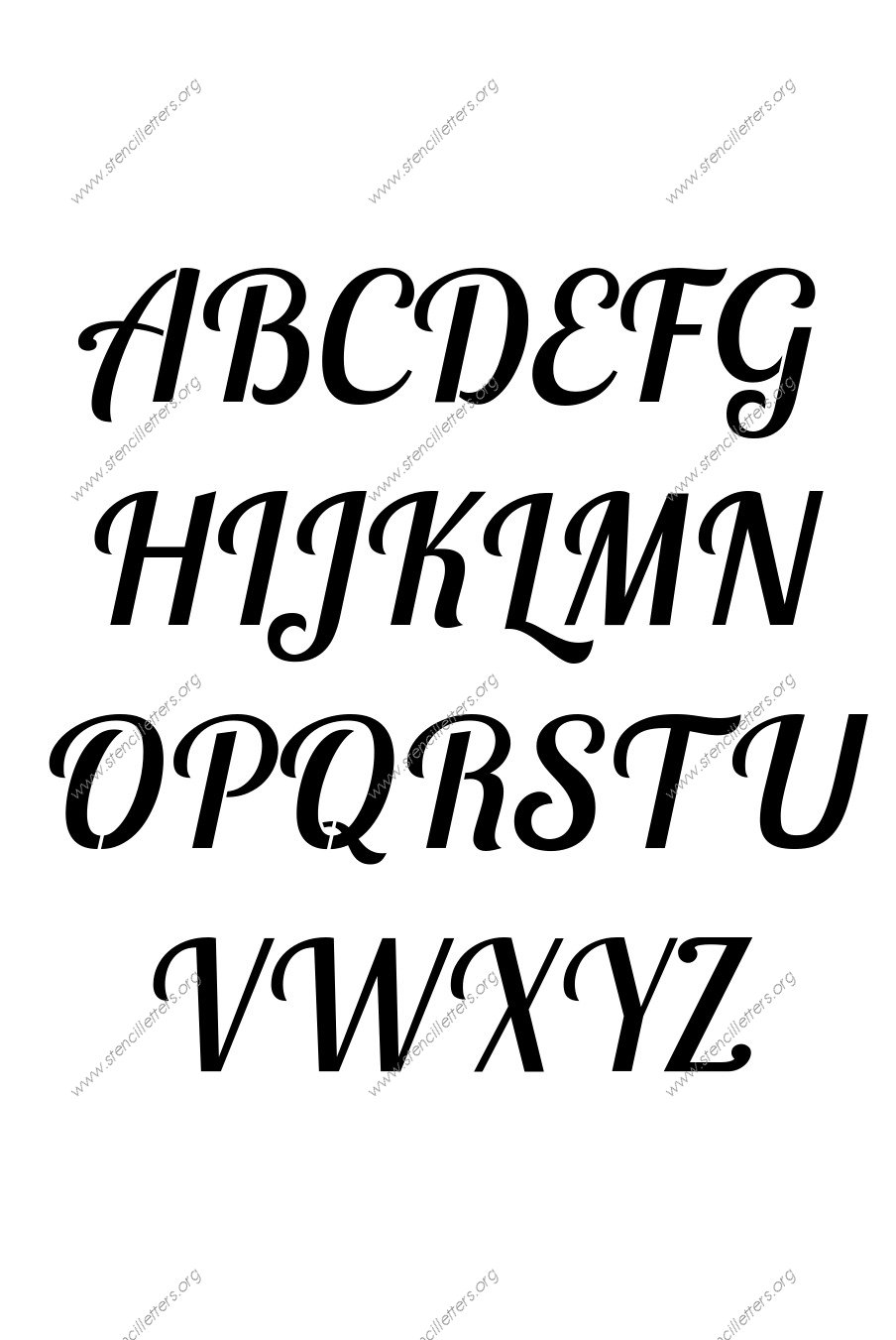 Connected Italic A to Z uppercase letter stencils