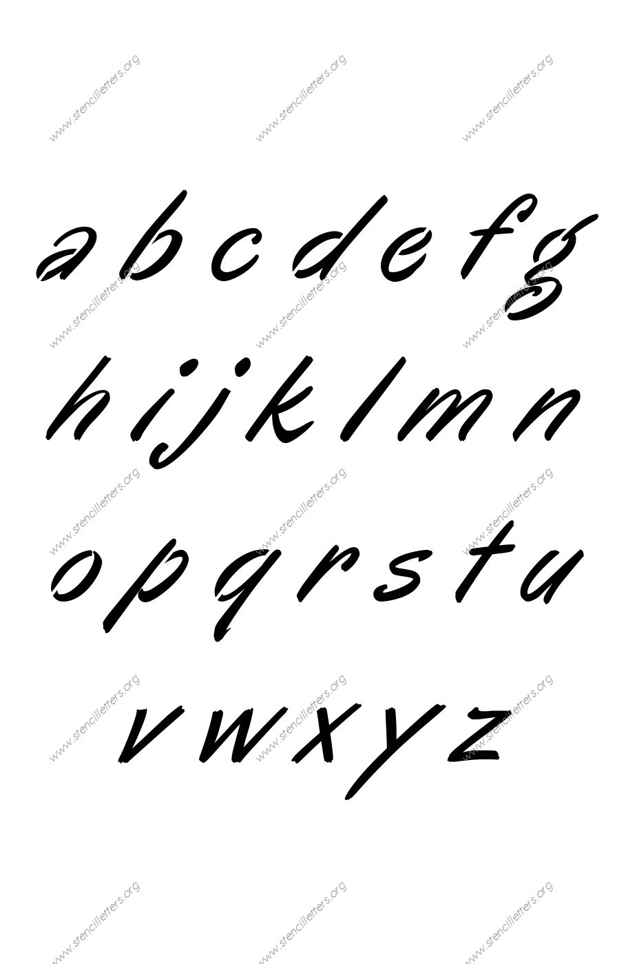 Calligraphic Italic A to Z lowercase letter stencils