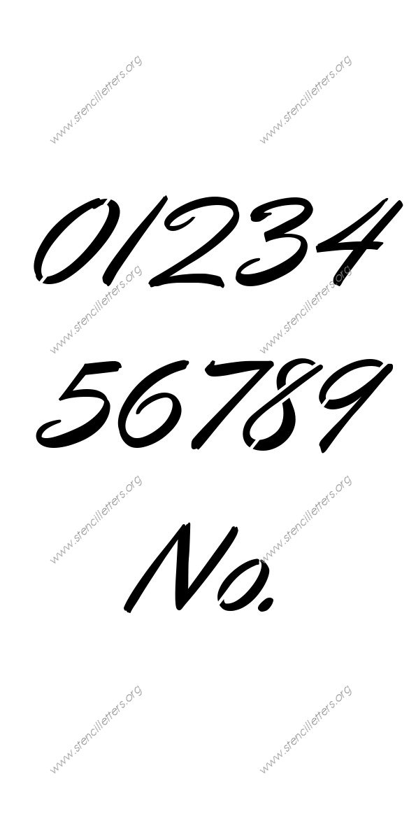 Calligraphic Italic 0 to 9 number stencils