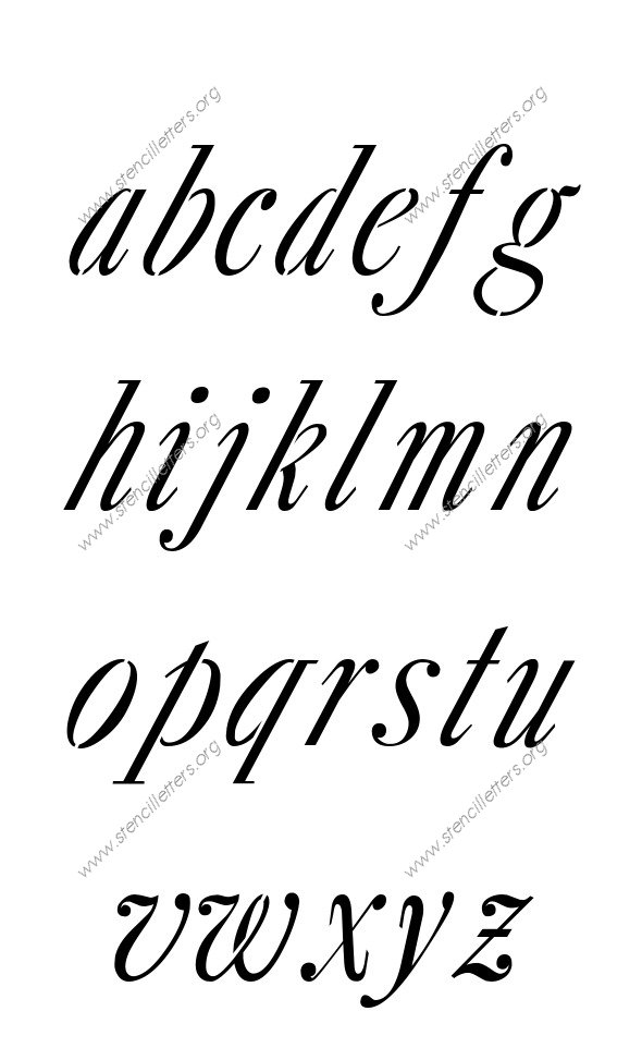 18th Century Italic A to Z lowercase letter stencils