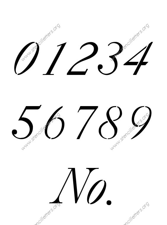 18th Century Italic 0 to 9 number stencils