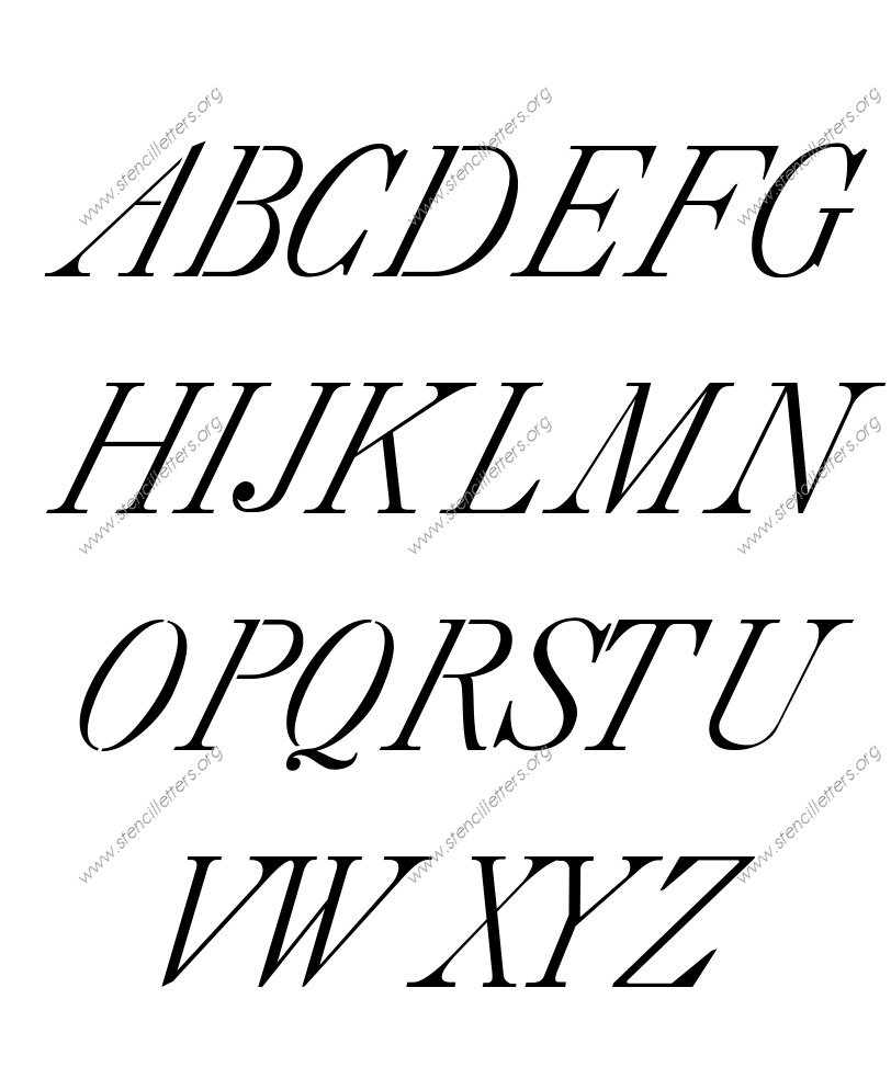 18th Century Italic A to Z uppercase letter stencils