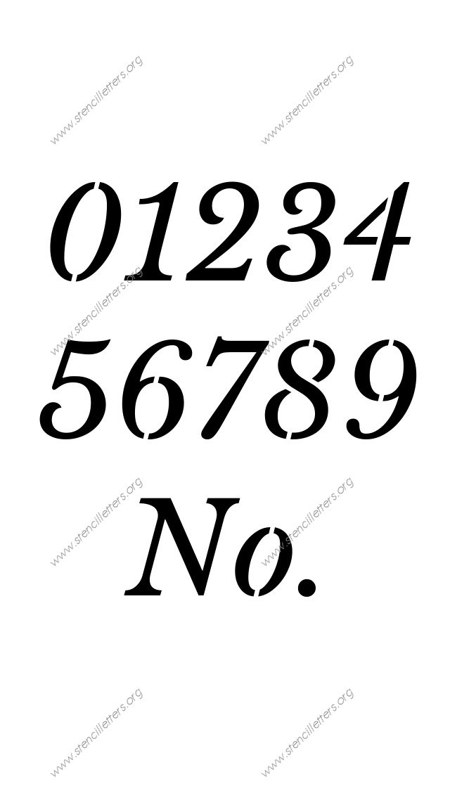 Roman Serif Italic Number Stencils 0 to 9   Stencil Letters Org