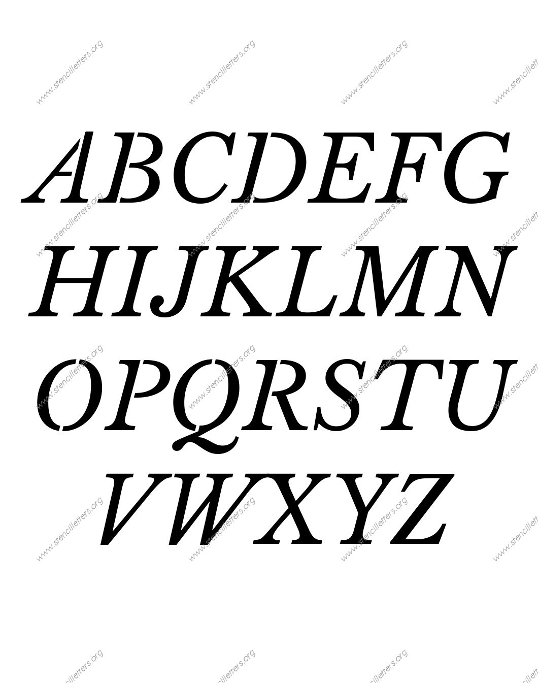 Roman Serif Italic A to Z uppercase lowercase letter stencil set