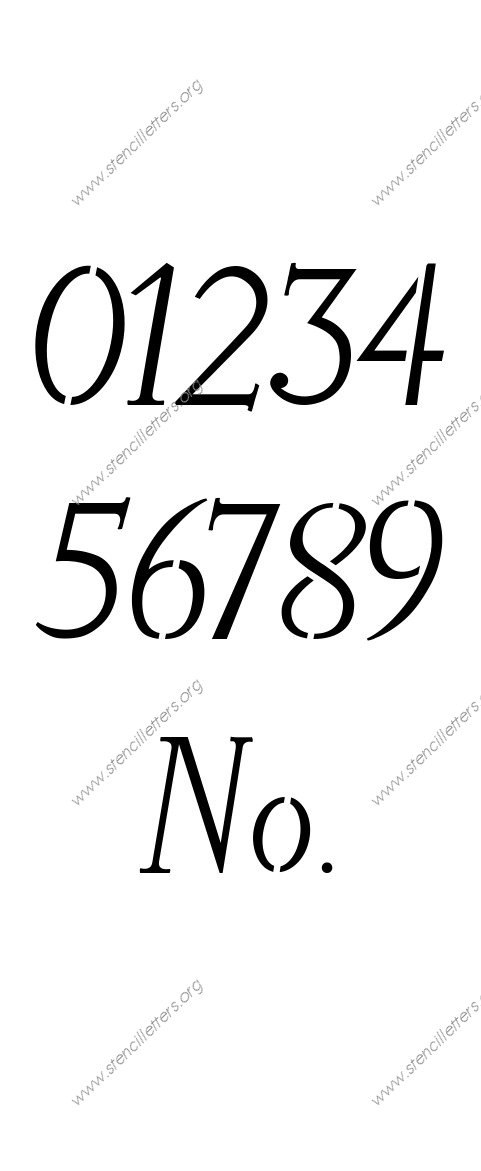 Longhand Italic 0 to 9 number stencils