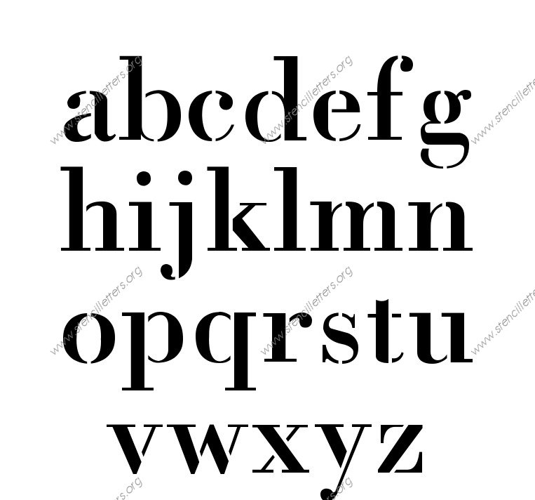 1700s Decorative A to Z lowercase letter stencils