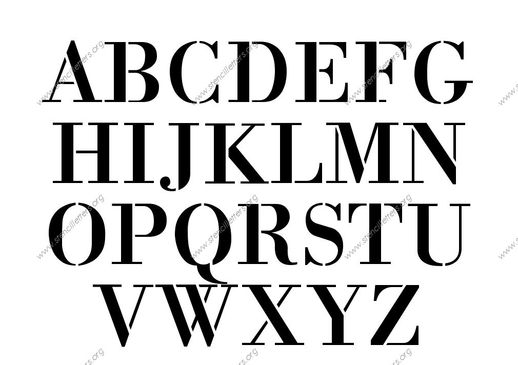 1700s Decorative A to Z uppercase letter stencils