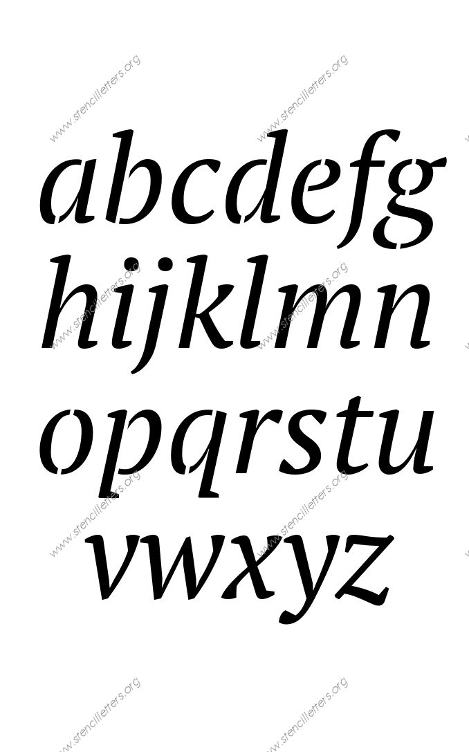 Bold Italic A to Z lowercase letter stencils