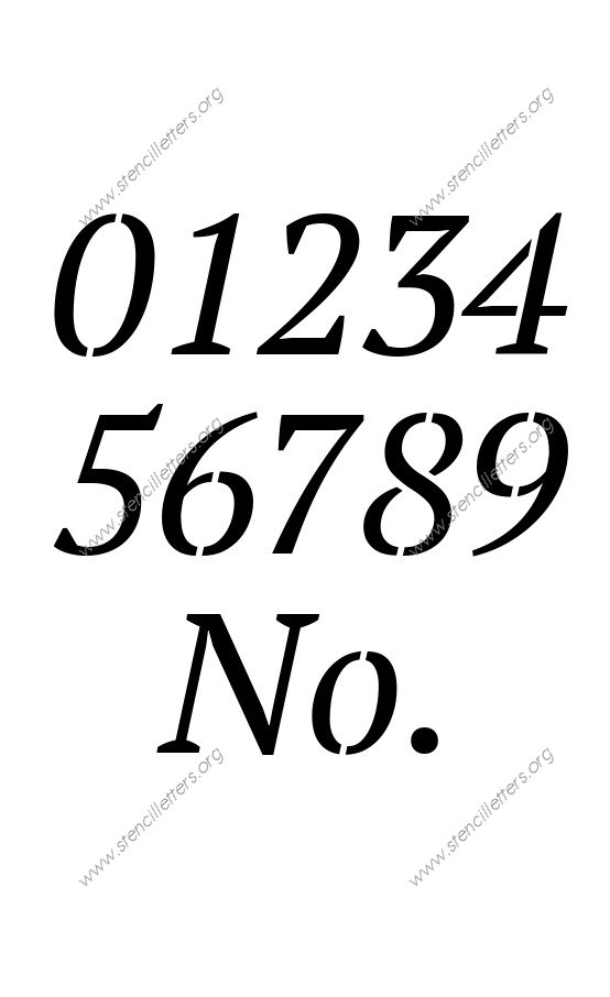 Bold Italic 0 to 9 number stencils