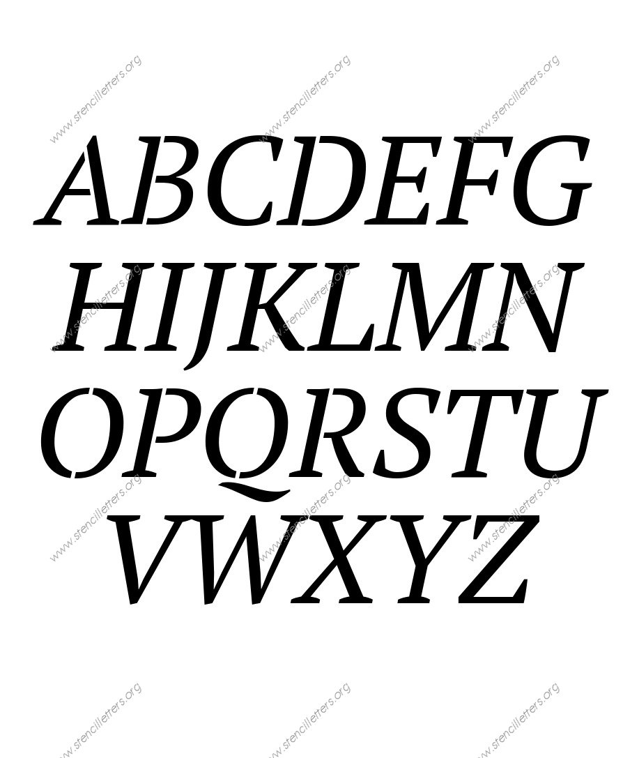 Bold Italic A to Z uppercase letter stencils