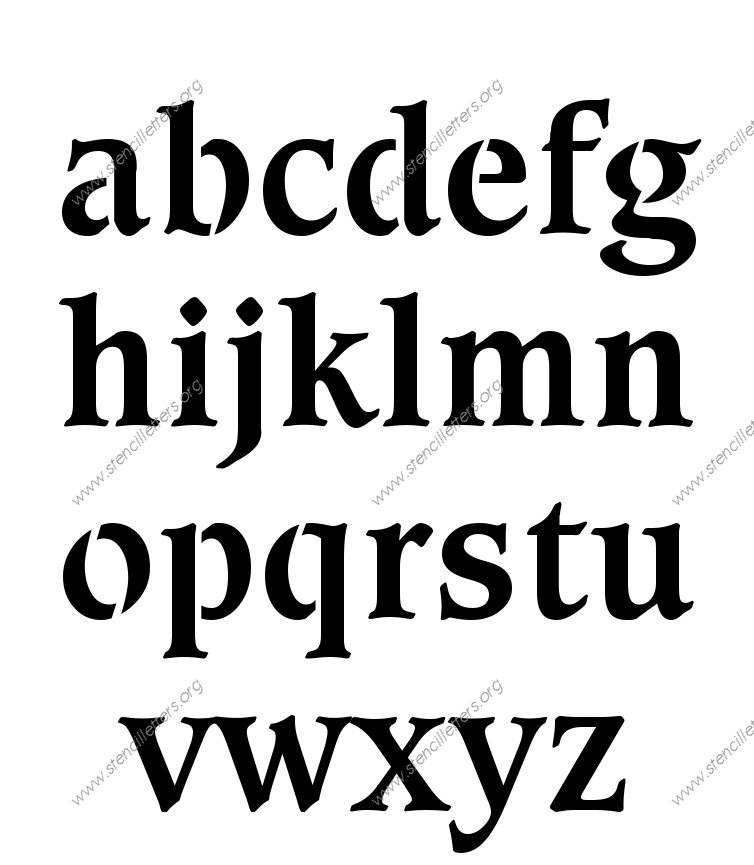Decorative Bold A to Z lowercase letter stencils