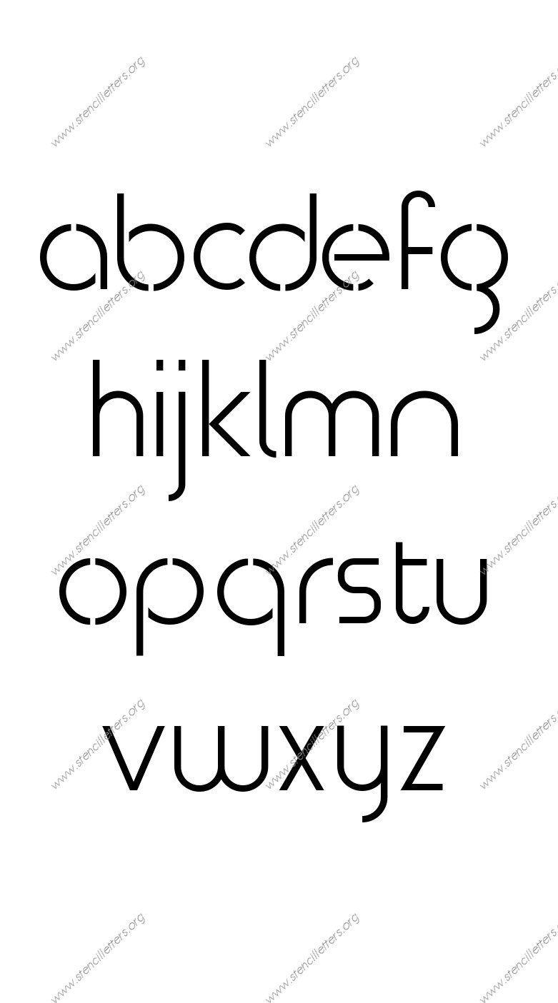 Avant-garde Circle A to Z lowercase letter stencils