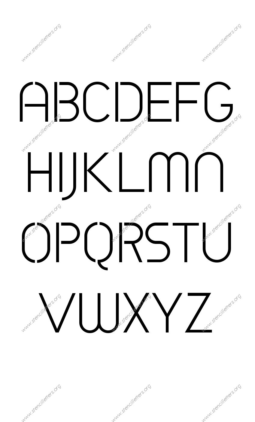 Avant-garde Circle A to Z uppercase letter stencils