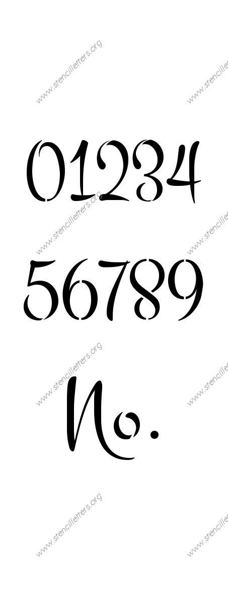 1960s Brush 0 to 9 number stencils