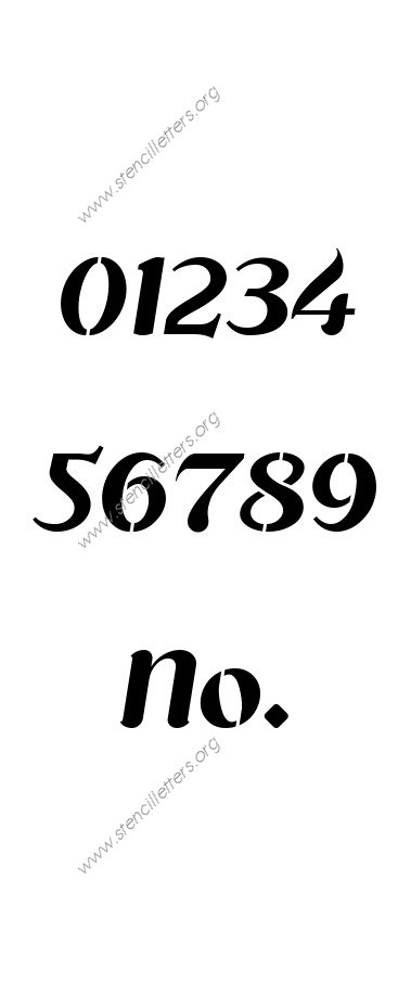 Cursive Flowing 0 to 9 number stencils