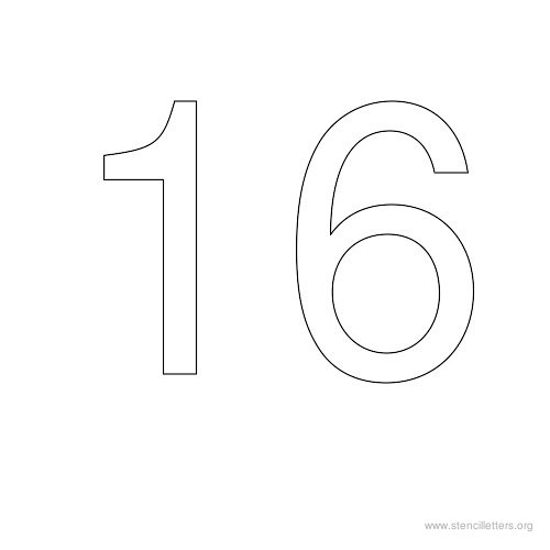 stencil-number-16  Inch Alphabet Letter Templates on for tracing, free printable large, for kids, medium printable,