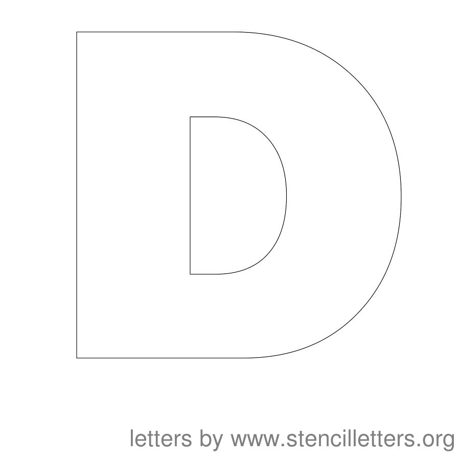 Alphabet E letters to print and cut out free - 12 Inch Stencil Letter Uppercase D