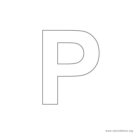 uppercase arial stencil letter p