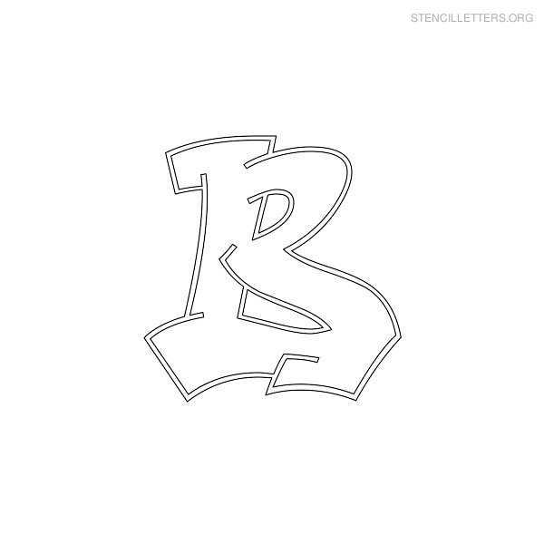 graffiti-stencil-letter-b Old English Letter Stencil Template on large printable,