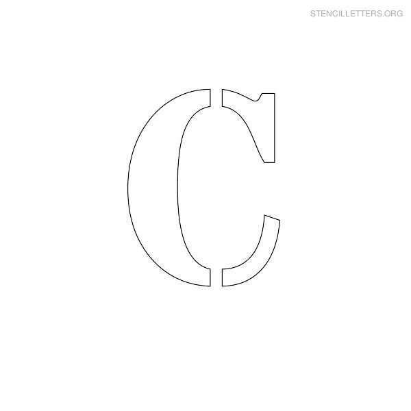 Stencil Uppercase Letter CUppercase Letter C