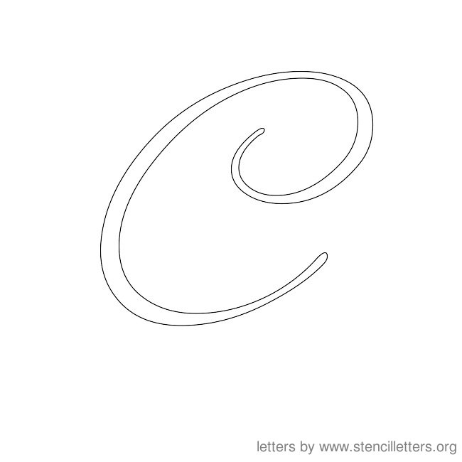 Worksheets Cursive C the letter c in cursive coffemix stencil letters org