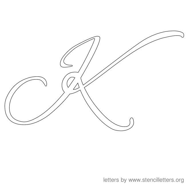 Cursive Capital K Cursive letter stencils k