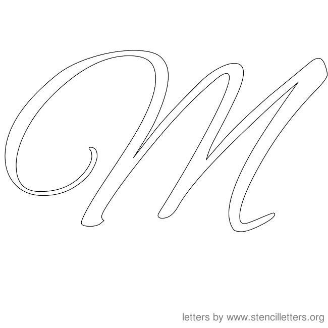 cursive letter stencils m