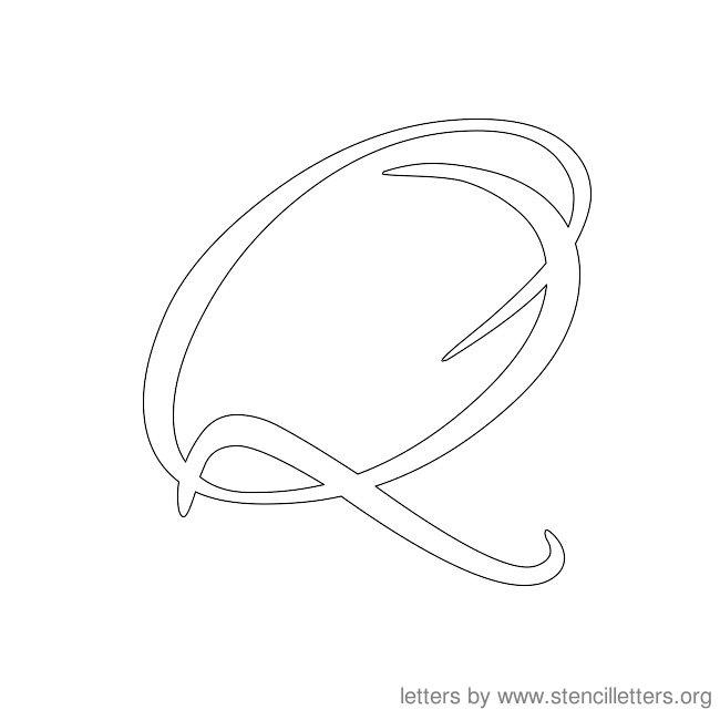 cursive letter stencils q