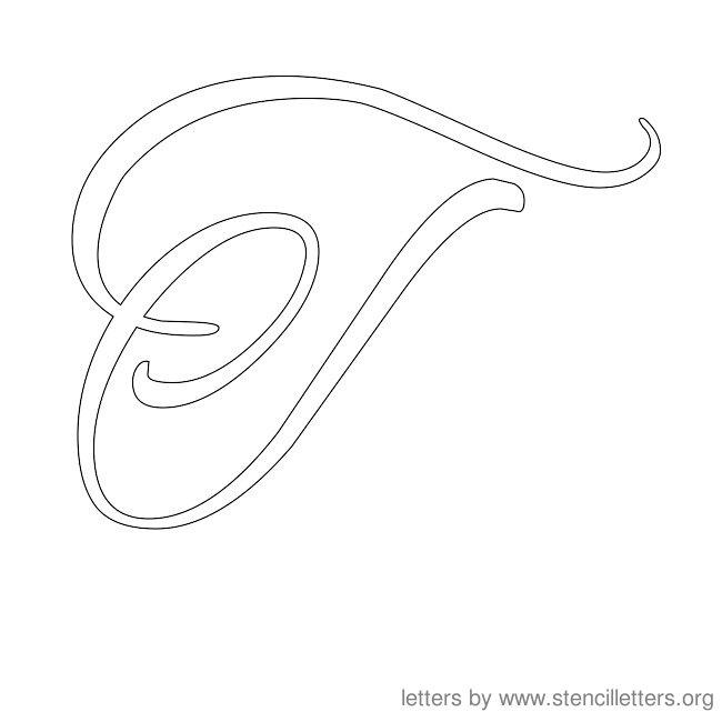 Printables Letter T Cersive stencil letters cursive org letter stencils t