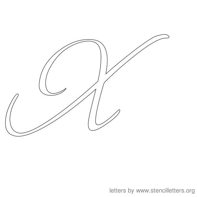 cursive letter stencils x