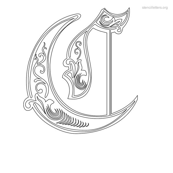 Stencil Letter Decorative C