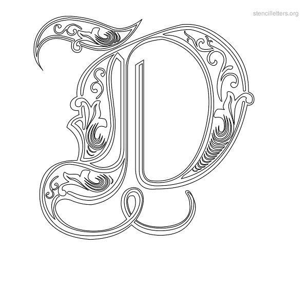 Stencil Letter Decorative D