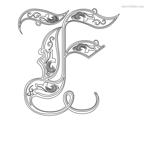 Stencil Letter Decorative F