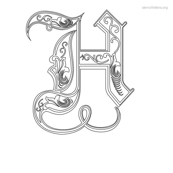 Stencil Letter Decorative H