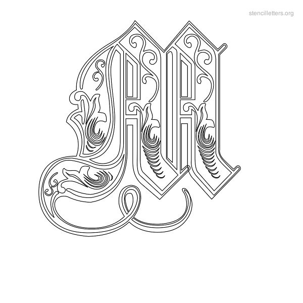 stencil letter decorative m