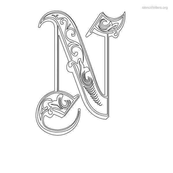 Stencil Letter Decorative N