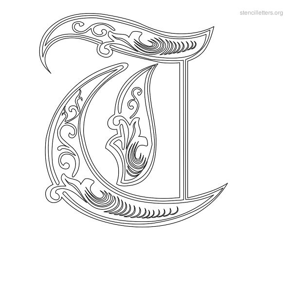 stencil letter decorative t