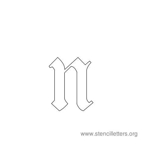 lowercase gothic stencil letter n