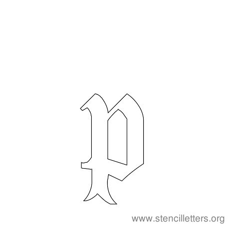 lowercase gothic stencil letter p