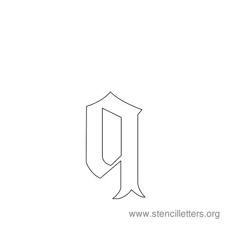 lowercase gothic stencil letter q