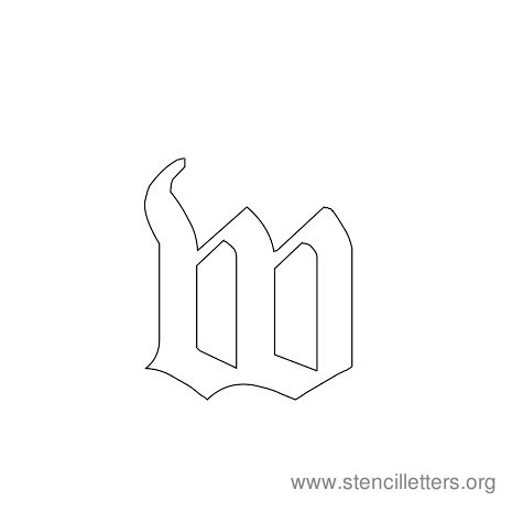 lowercase gothic stencil letter w